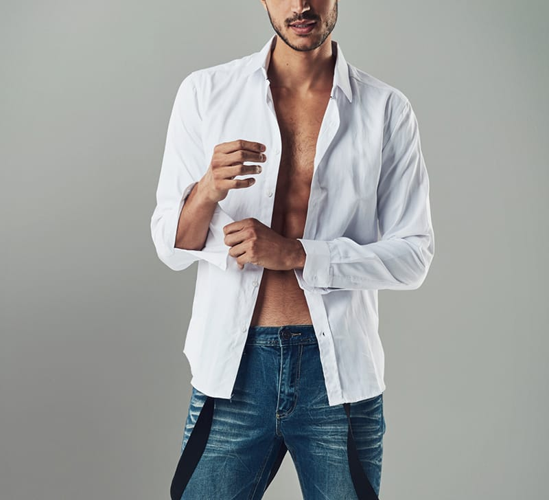 Man with white shirt unbuttoned